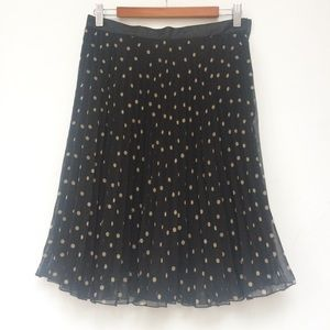 H&M Polka Dot Pleated Skirt, Lined, Excellent Con